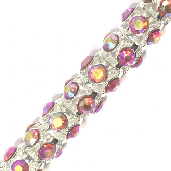 7mm Red AB rhinestone silver colour reticulated chain -- 1meter